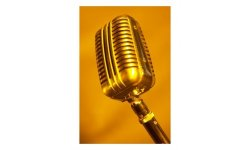011129 1172 0011 lshs~Antique Silver Microphone in Orange Light Posters